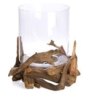 Schlittler - Hurricane Lamp Round Driftwood 40.5cm
