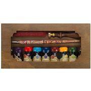 Rubinato -  Nibholder Pen Inks Brass Seal & Wax Set 12 pce