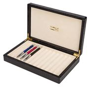 Renzo - Black Crocodile Print Leather  Box For 12 Pens
