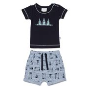 Marquise - T-Shirt & Shorts Set Navy/Grey 2 pce Size 00