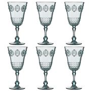 Baci Milano - Baroque & Rock Wine Glass Set Aqua 6pce