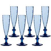 Baci Milano - Lounge Champagne Flute Set Blue 6pce