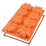 Silikomart - Silicone Mould Fairy Owls 8 Cup Orange