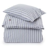 Lexington - Striped Poplin Flat Sheet Blue King