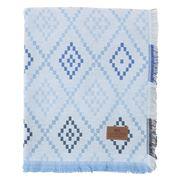 Lexington - Brushed Cotton Throw Blue & White 130x170cm
