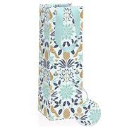Vandoros - Poinsettia Bottle Gift Bag Icy Blue