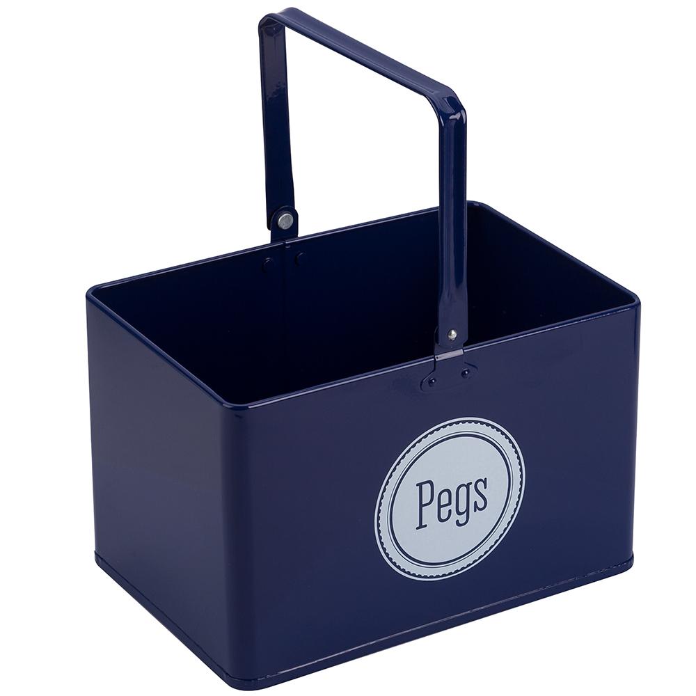 Retro Kitchen Navy Peg Bucket Peters Of Kensington