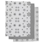 Rans - Snow Flakes Tea Towel Set Silver 3pce