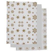 Rans - Snow Flakes Tea Towel Set Gold 3pce