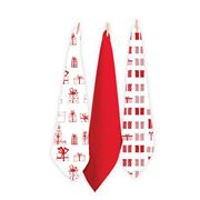Rans - Christmas Gift Tea Towel Set Red 3pce