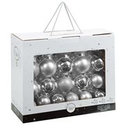 Peter's - Shatterproof Christmas Baubles Set Silver 42pce