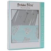 Bubba Blue - Beary Happy Cot Fitted Sheets Set 2pce