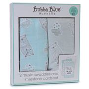Bubba Blue - Beary Happy Muslin Swaddles & Cards Set
