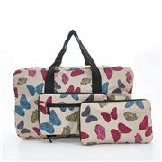 Eco-Chic - Foldable Holdall Butterflies Beige