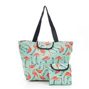 Eco-Chic - Foldable Cool Bag Green Flamingo Large