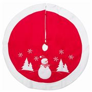 Peter's - Felt Tree Skirt Red Snowman 90cm