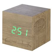 Gingko - Cube Click Clock Ash / Green LED