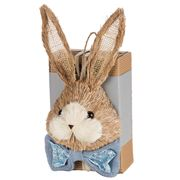 Boz Easter - Straw Bunny Box With Eggs Grey/Blue