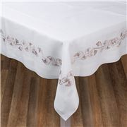 Serenk - Beige Gingko Linen Tablecloth White 155x250cm