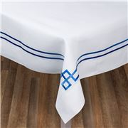 Serenk - Blue Greek Key Linen Tablecloth White 160x350cm