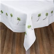 Serenk - Palm Tree White Linen Tablecloth 155x250cm