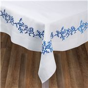 Serenk - Blue Coral Frame Linen Tablecloth White 155x250cm