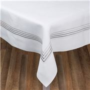 Serenk - Silver Four Picots White Linen Tablecloth 160x350cm