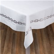 Serenk - Silver Chain White Linen Tablecloth 155x250cm