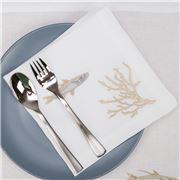Serenk - Silver & Gold Fish Linen Napkin White 40x40cm