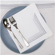 Serenk - Silver Four Picots Linen Napkin White 40x40cm