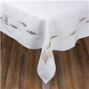 Serenk - Silver & Gold Fish White Linen Tablecloth 155x250cm