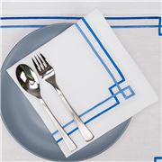 Serenk - Blue Greek Key Linen Napkin White 40x40cm