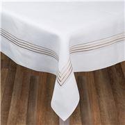 Serenk - Gold Four Picots Linen Tablecloth White 155x250cm