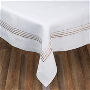 Serenk - Gold Four Picots White Linen Tablecloth 160x350cm