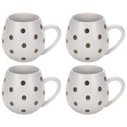 Robert Gordon - Hug Me Matte White & Gold Spot Mug Set 4pce