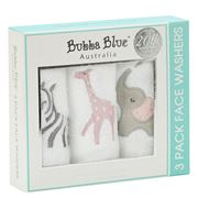 Bubba Blue - Girl Zoofari 3pk Facewashers