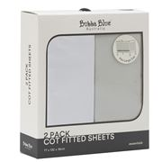 Bubba Blue - 2pk Cot Fitted Sheets White & Grey
