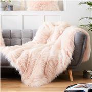 Evelyne Prelonge - Faux Fur Throw Rug Himalaya Blush