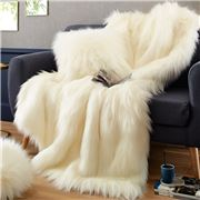 Evelyne Prelonge - Faux Fur Throw Rug Himalaya Ivory