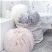 Evelyne Prelonge - Faux Fur Round Cushion Himalaya Ivory