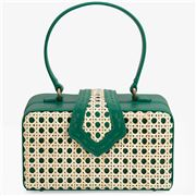 Mehry Mu - Fey In The 50s Bag Leather & Rattan Emerald Green