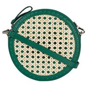 Mehry Mu - Tambourine Crossbody Leather/Rattan Bag Green