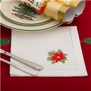 Christmas Napery - Poinsettia Napkin