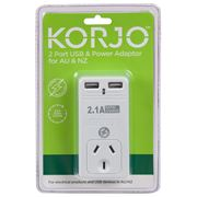 Korjo - Two Port USB Adaptor Plug for Australia & NZ