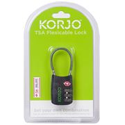 Korjo - TSA Flexicable Combination Lock Black