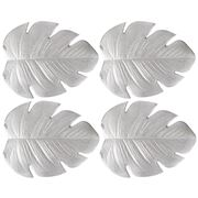 AT - Palm Leaf  Coaster Set Metallic Silver 4pce