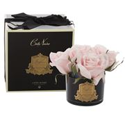 Cote Noire - Five French Pink Roses Black Glass Jar