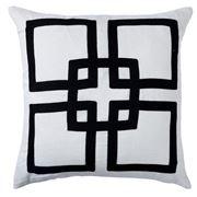 Paloma - Square Pattern Linen Cushion Black 50x50cm