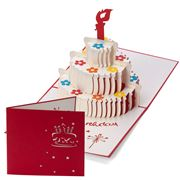 Colorpop - Three Layer White Birthday Cake Greeting Card