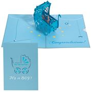 Colorpop - New Baby Pram Greeting Card Blue